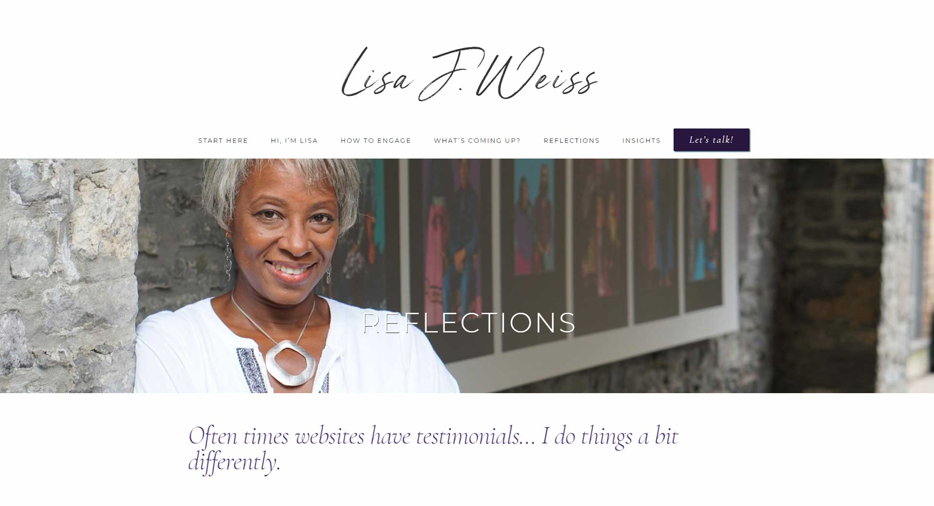 Website photography showing Lisa Weiss conveying gratitude for her clients positive feedback.