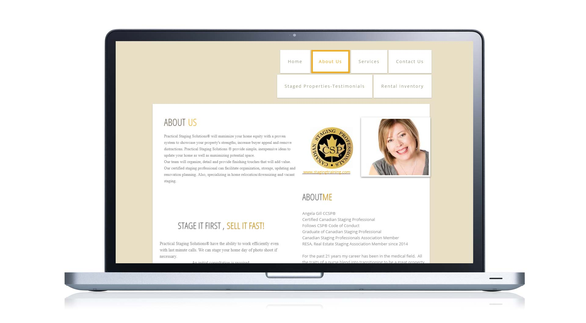 Website redesign of Practical Staging Solutions that doubled Angie's client base.