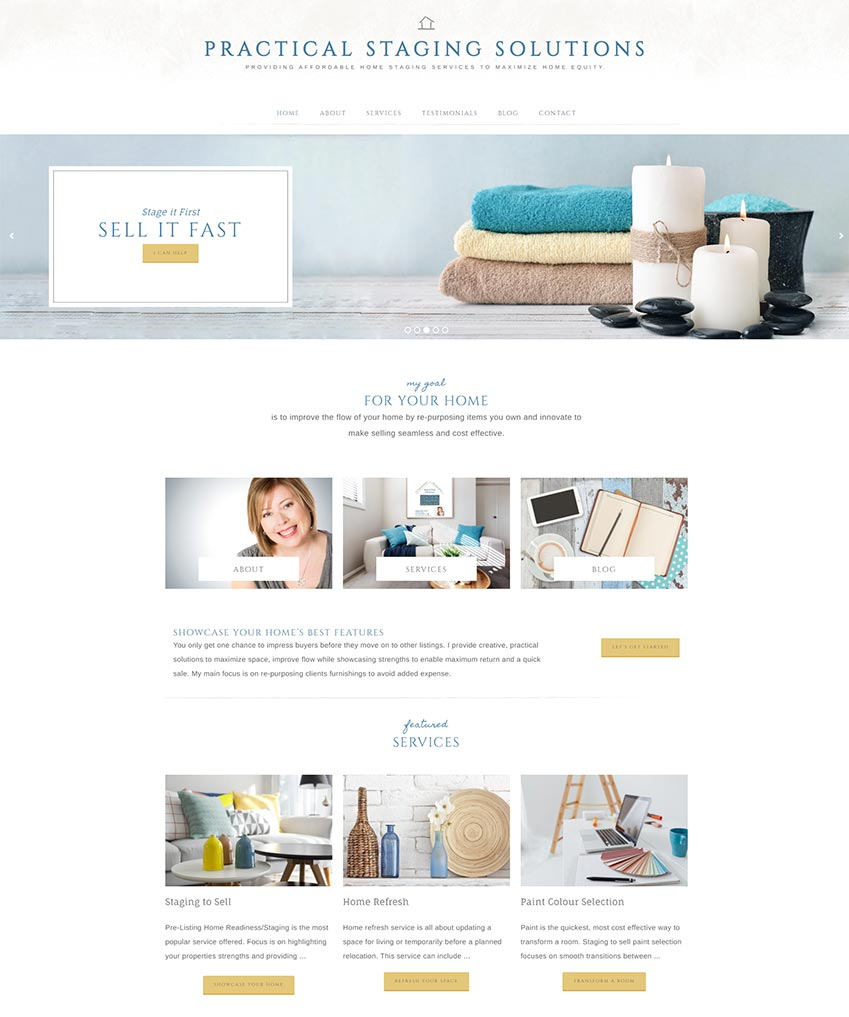 Practical Staging Solutions Website Redesign Homepage displaying guided buying journey