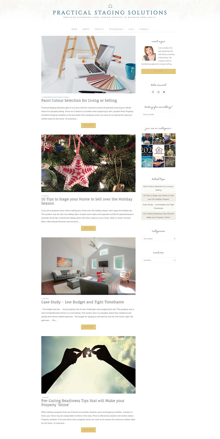 Practical Staging Solutions Website Redesign - blog content to create credibility and improve SEO